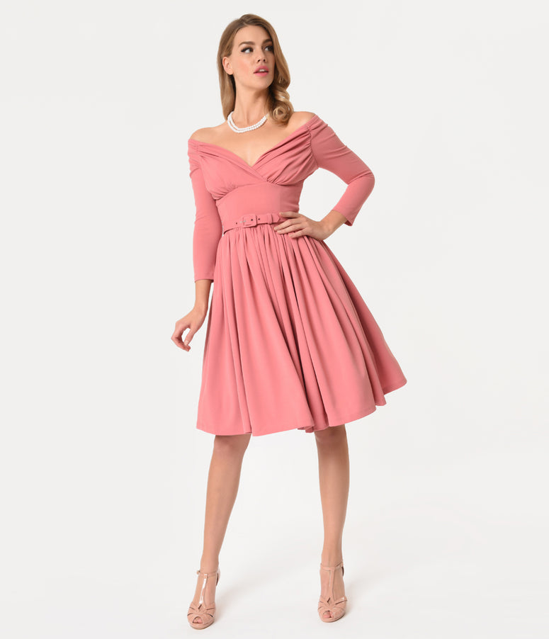 Vixen By Micheline Pitt Rose Pink Sleeved Starlet Swing Dress