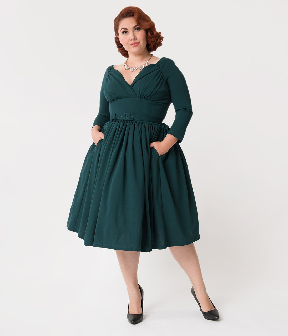 1950s Prom Dresses & Party Dresses Vixen By Micheline Pitt Plus Size Forest Green Sleeved Starlet Swing Dress $178.00 AT vintagedancer.com