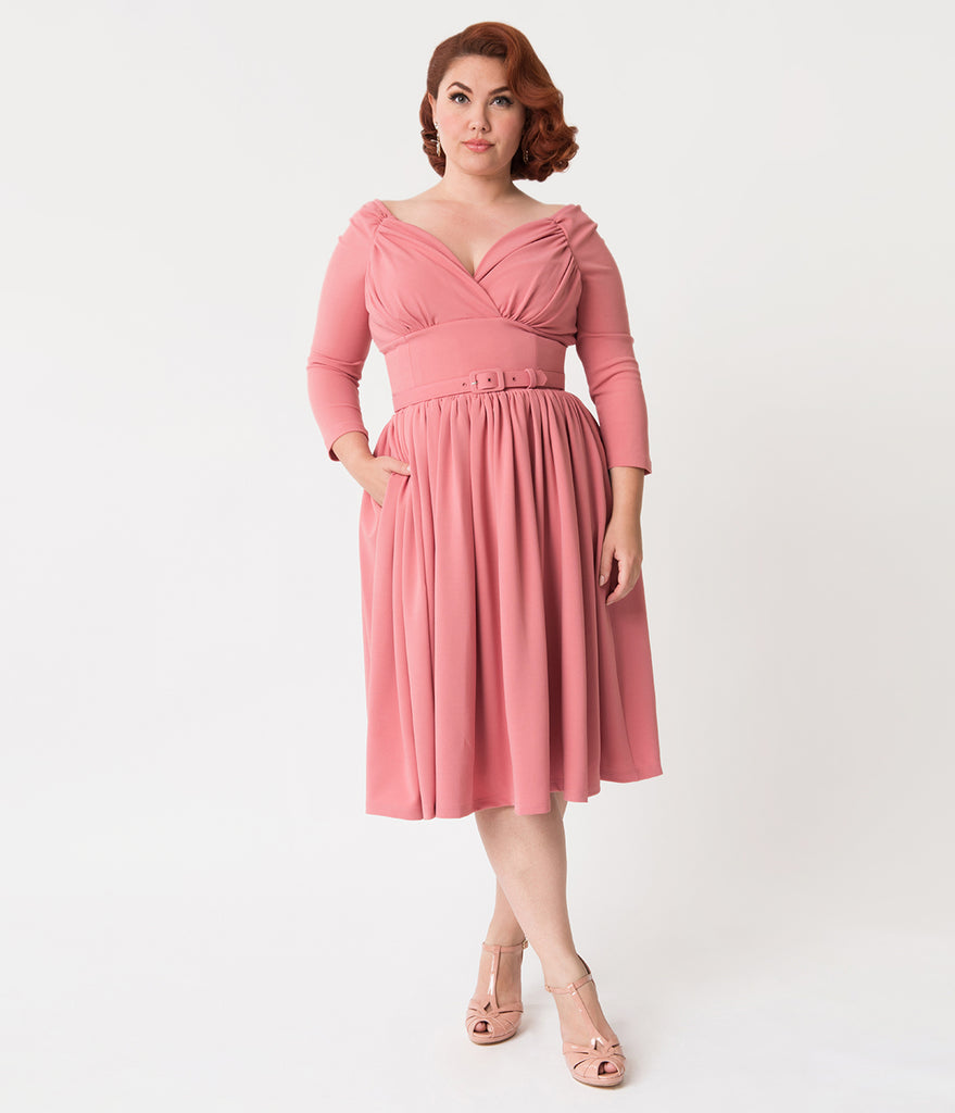 Vixen By Micheline Pitt Plus Size Rose Pink Sleeved Starlet Swing Dress