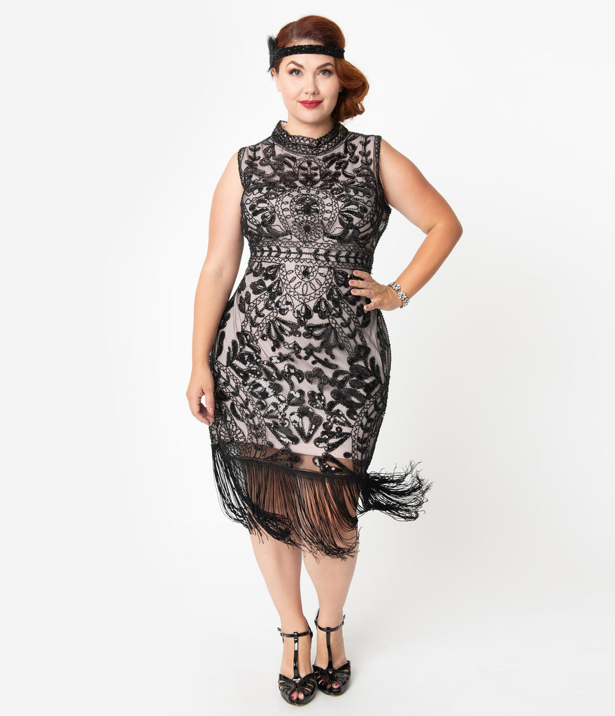 Unique Vintage Plus Size 1920s Black Beaded & Pink Sleeveless Marcelline Cocktail Dress