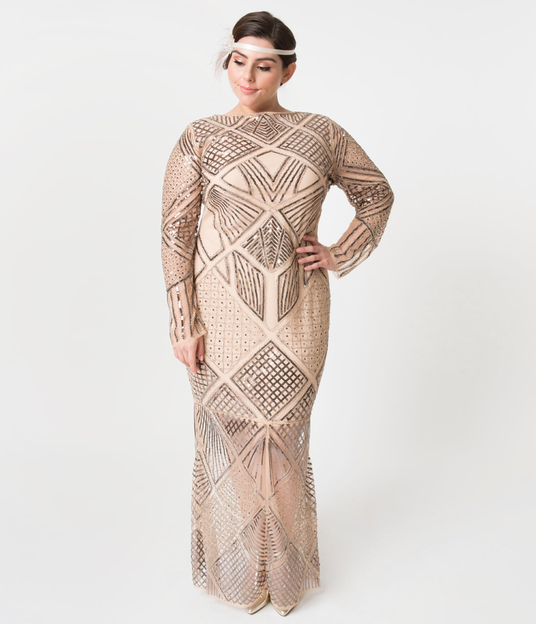 1940s Plus Size Fashion: Style Advice from 1940s to Today Unique Vintage Plus Size Blush Rose Sleeved Beaded Régine Long Flapper Dress $148.00 AT vintagedancer.com