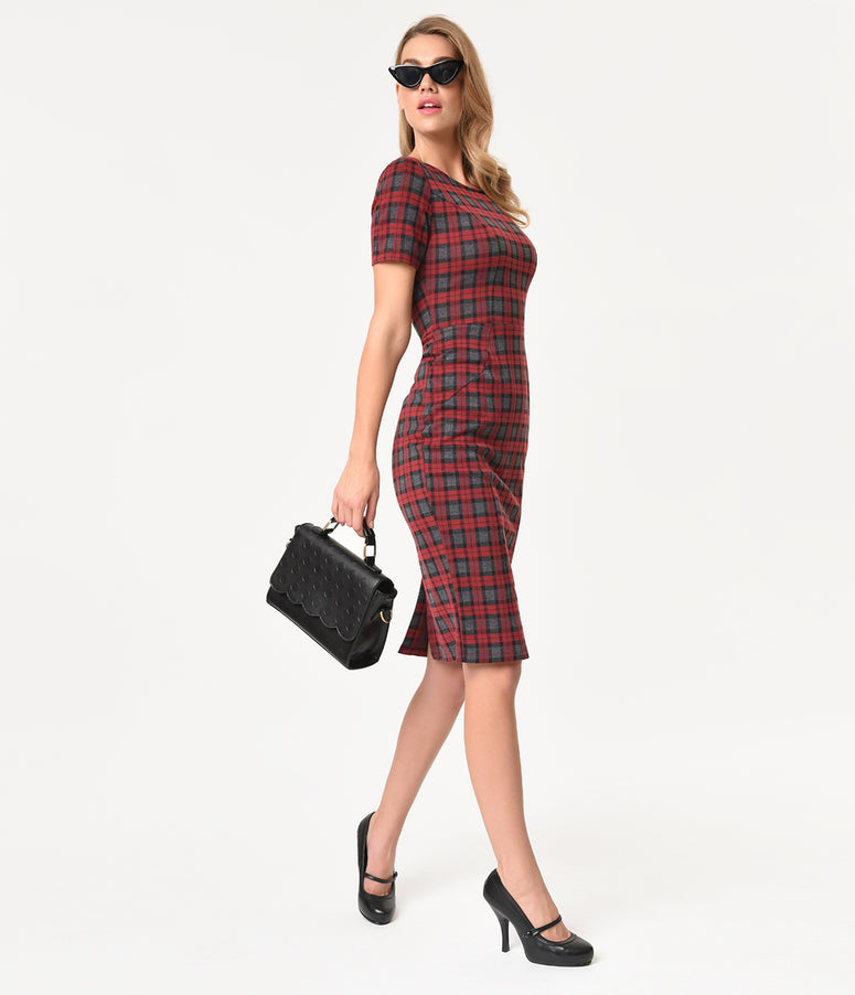 Unique Vintage 1960s Style Burgundy Plaid Short Sleeve Mod Wiggle Dress