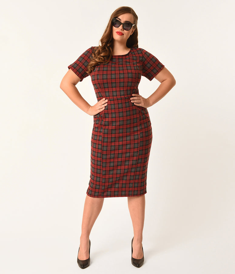 Unique Vintage Plus Size 1960s Style Burgundy Plaid Short Sleeve Mod Wiggle Dress