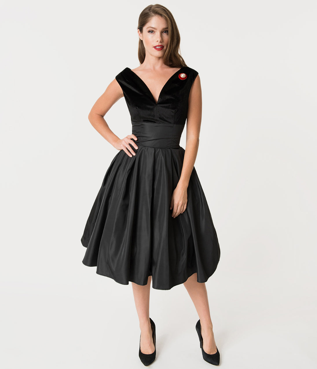 1950s Swing Dresses | 50s Swing Dress Unique Vintage 1950S Style Black Velvet  Taffeta Evie Swing Dress $98.00 AT vintagedancer.com
