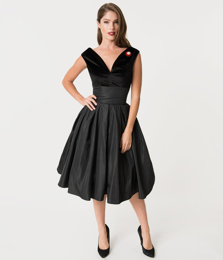 887bee77fc9 Unique Vintage 1950s Style Black Velvet   Taffeta Evie Swing Dress