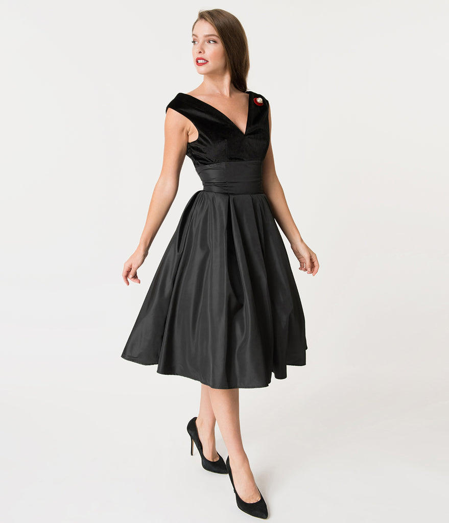 Unique Vintage 1950s Style Black Velvet & Taffeta Evie Swing Dress