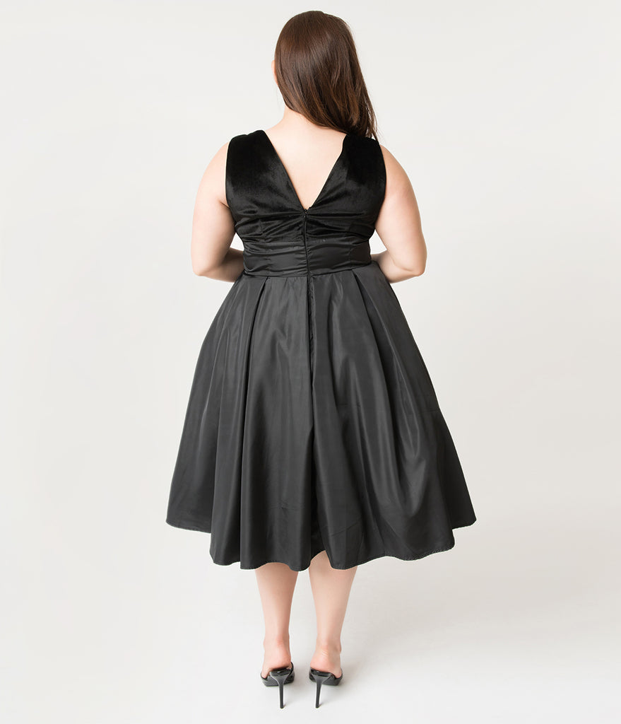 b404d9fa9 ... Unique Vintage Plus Size 1950s Style Black Velvet & Taffeta Evie Swing  Dress ...