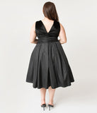 Unique Vintage Plus Size 1950s Style Black Velvet & Taffeta Evie Swing Dress