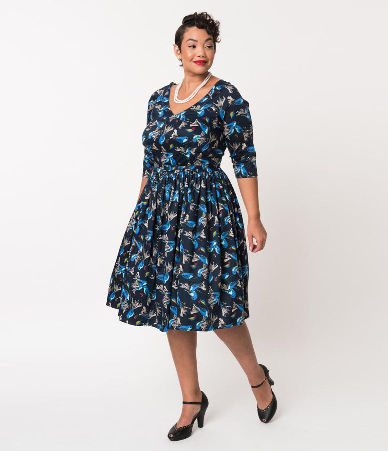 Unique Vintage Plus Size 1950s Navy & Blue Bird Print Cotton Penny Swing Dress