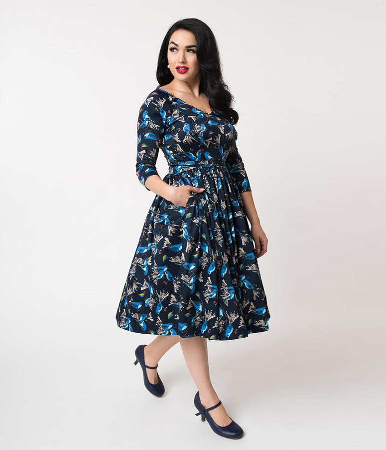 Unique Vintage 1950s Navy & Blue Bird Print Cotton Penny Swing Dress