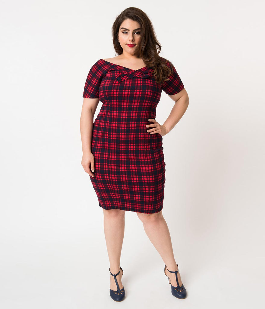 Unique Vintage Plus Size Red & Navy Plaid Cotton Strauss Wiggle Dress & Cape