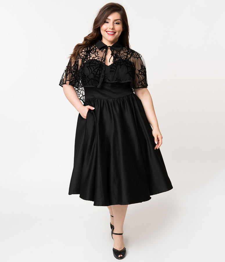 Unique Vintage Plus Size 1940s Black Cotton Luna Swing Dress & Velvet Spiderweb Mesh Capelet