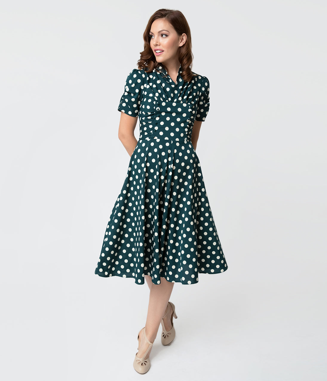 Vintage Tea Dresses, Floral Tea Dresses, Tea Length Dresses Unique Vintage 1940S Style Emerald Green  White Dot Camilla Midi Dress $66.00 AT vintagedancer.com