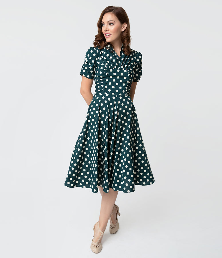 Unique Vintage 1940s Style Emerald Green & White Dot Camilla Midi Dress