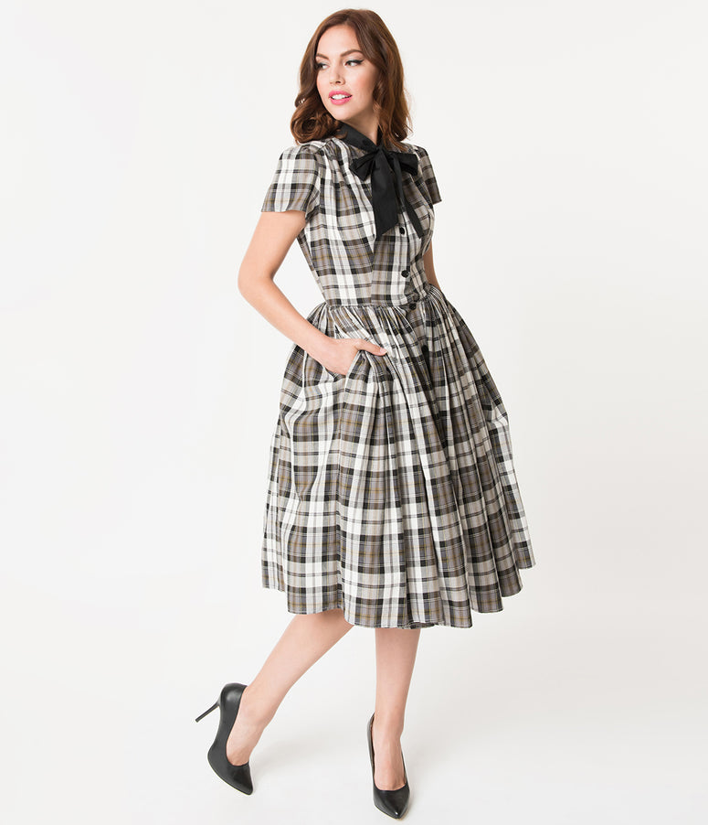 Unique Vintage 1950s Style Grey Plaid Button Up Swing Dress