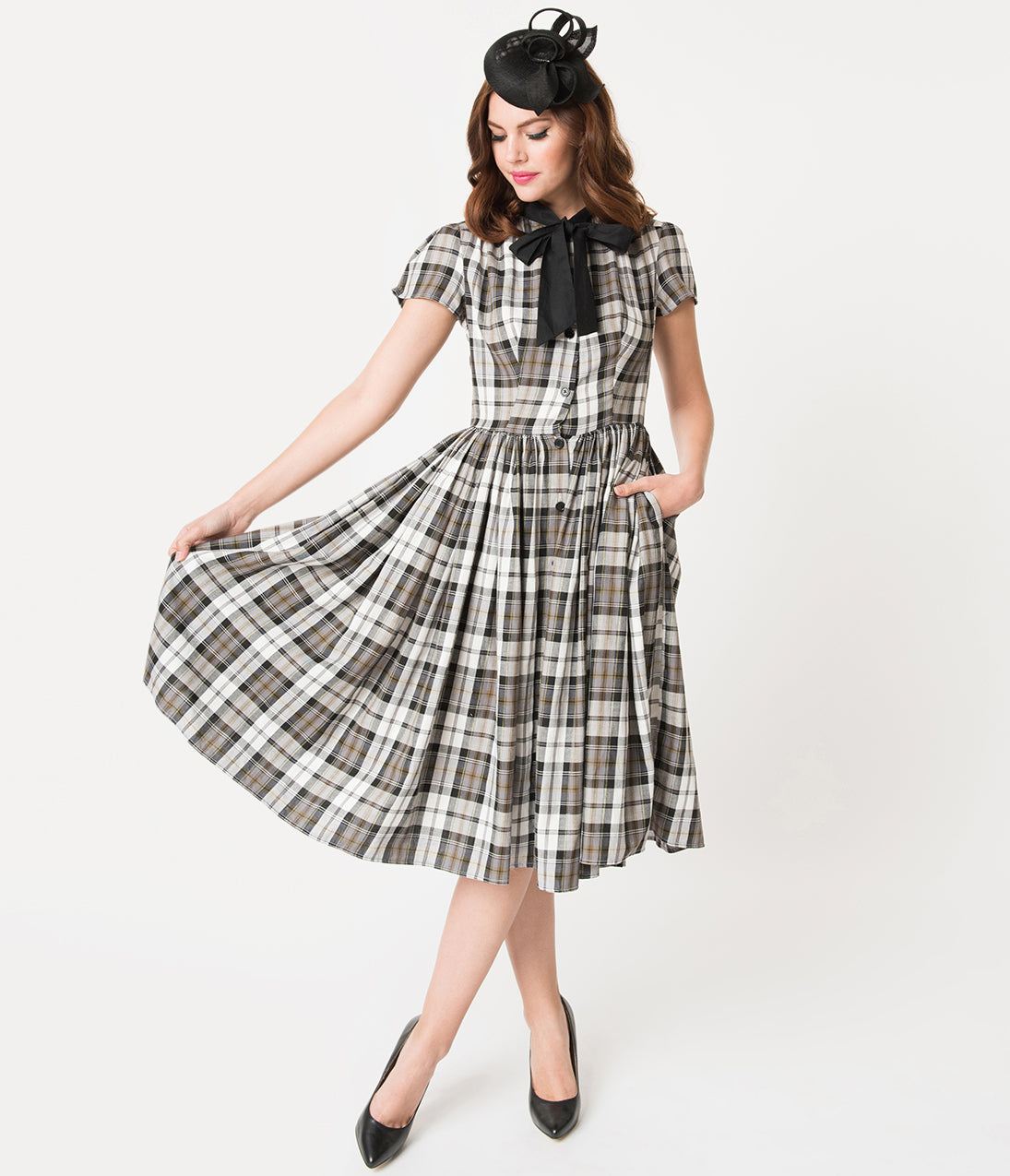 1950s Swing Dresses | 50s Swing Dress Unique Vintage 1950S Style Grey Plaid Button Up Swing Dress $98.00 AT vintagedancer.com