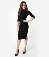 Sheath Bateau Neck Belted Fitted V Back Vintage Side Vent Hidden Back Zipper Knit 3/4 Sleeves Sheath Dress/Little Black Dress
