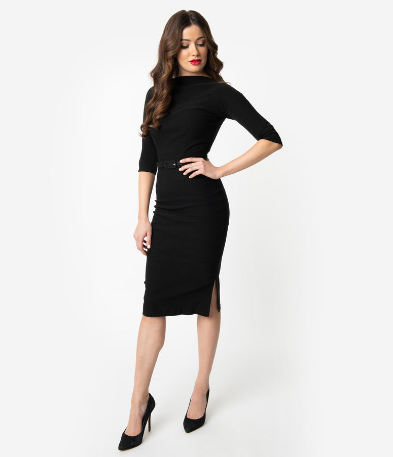 113e06b9303 Unique Vintage 1940s Style Black Stretch Sleeved Adelia Wiggle Dress