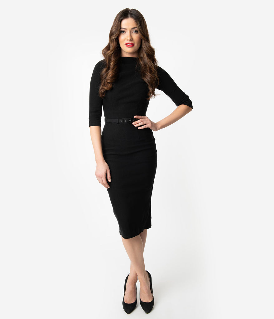 Unique Vintage 1940s Style Black Stretch Sleeved Adelia Wiggle Dress