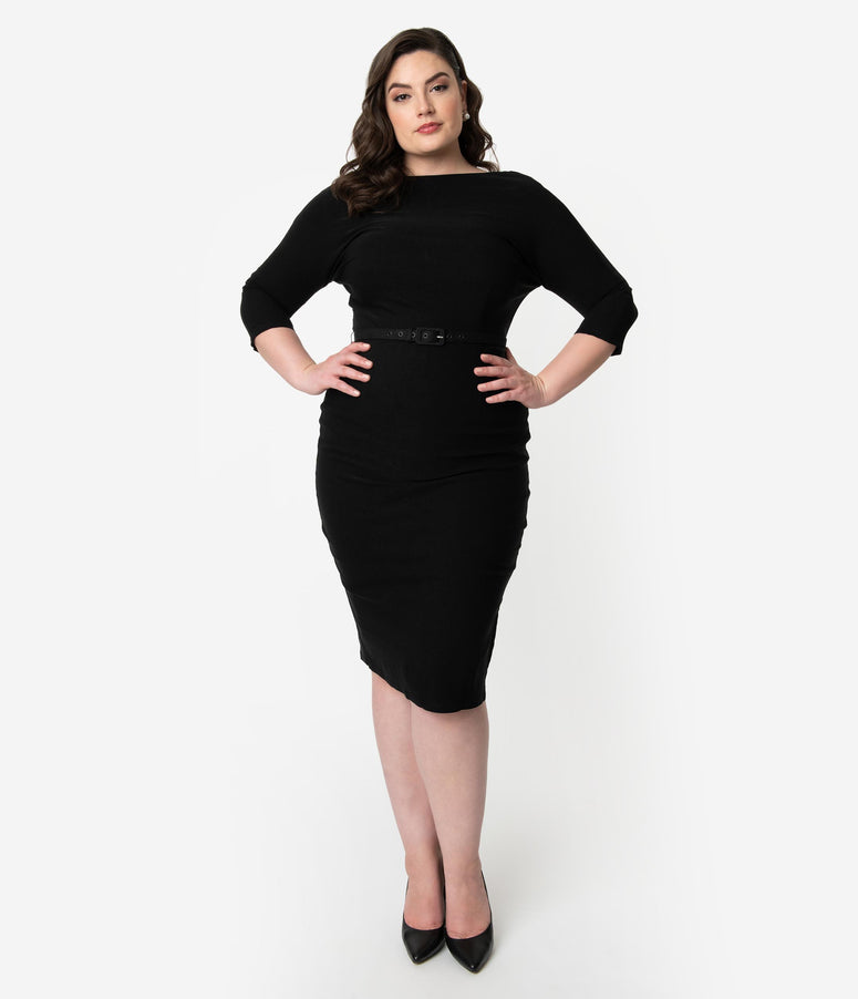 Unique Vintage Plus Size 1940s Style Black Stretch Sleeved Adelia Wiggle Dress
