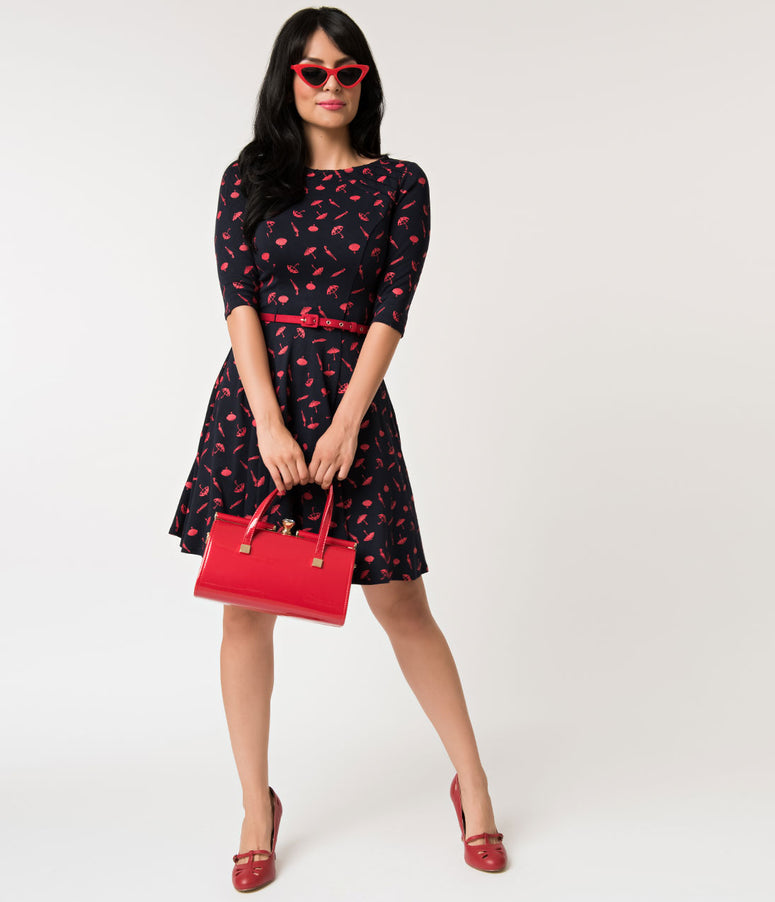 Unique Vintage Navy & Red Umbrella Knit Fit & Flare Dress