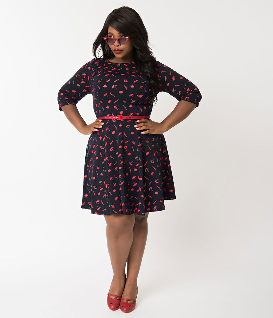 Unique Vintage Plus Size Navy & Red Umbrella Knit Fit & Flare Dress