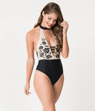 Cream & Black Bats & Roses Halter One Piece Swimsuit