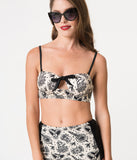 Retro Style Cream & Black Tattoo Love Rosie Bikini Top
