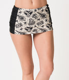 Retro Style Cream & Black Tattoo Love High Waist Bikini Skirt Bottom