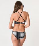 Black & White Stripe Pentagram Bikini Bottom