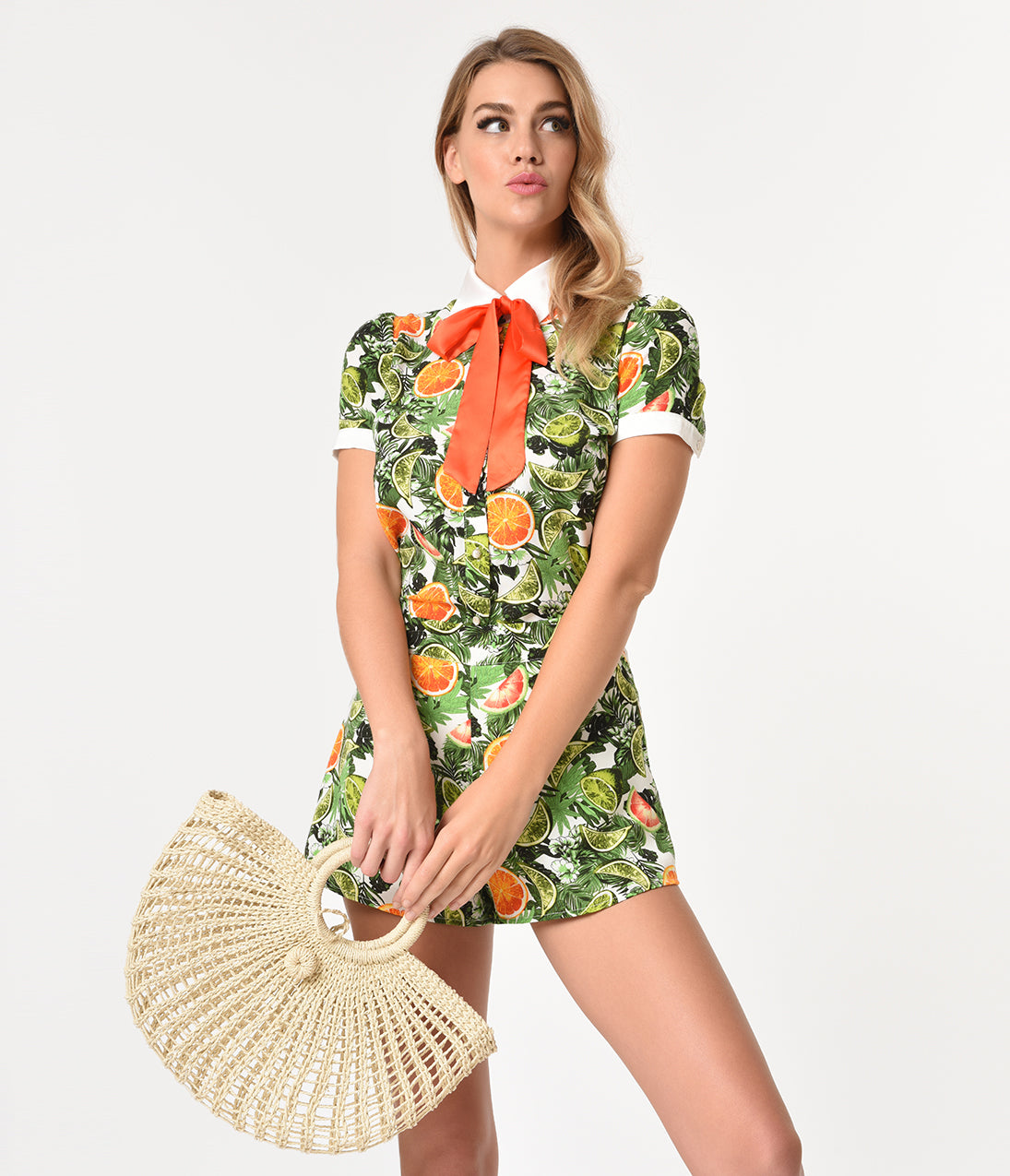 Vintage Rompers | Retro, Pin Up, Rockabilly Playsuits Green Tropical  Citrus Print Short Sleeve Neck Tie Blouse $42.00 AT vintagedancer.com