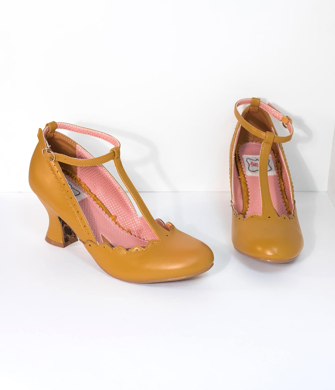 1940s Style Shoes, 40s Shoes Bettie Page 1940S Mustard Yellow Leatherette Penny Scalloped T-Strap Heels $78.00 AT vintagedancer.com
