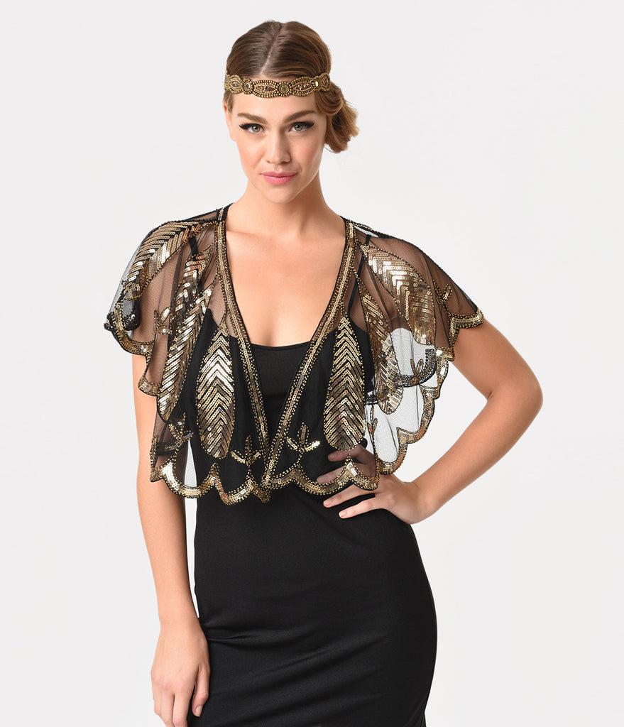 Unique Vintage 1920s Black Mesh & Gold Sequin Flapper Capelet