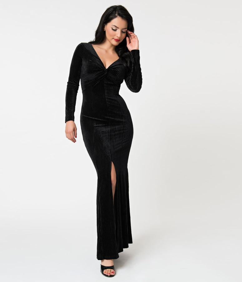 Voodoo Vixen 1930s Style Black Ribbed Velvet Morticia Gown