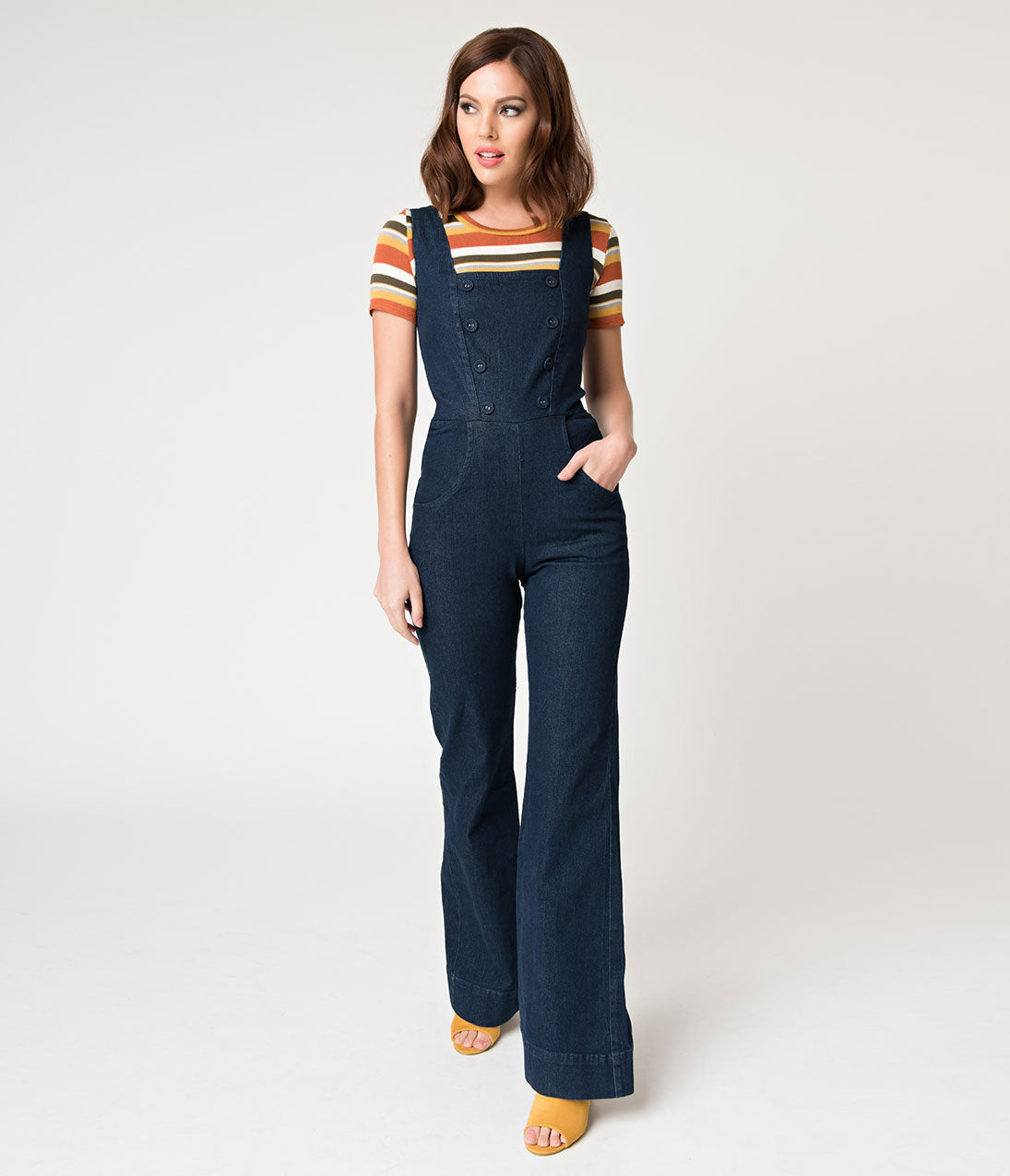 Vintage Overalls 1910s -1950s Pictures and History Voodoo Vixen Dark Blue Denim Everly Overall Jumpsuit $86.00 AT vintagedancer.com