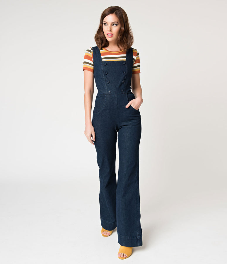 Voodoo Vixen Dark Blue Denim Everly Overall Jumpsuit