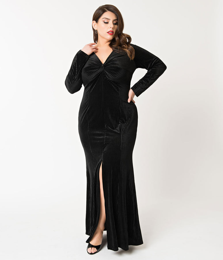 Voodoo Vixen Plus Size 1930s Style Black Ribbed Velvet Morticia Gown