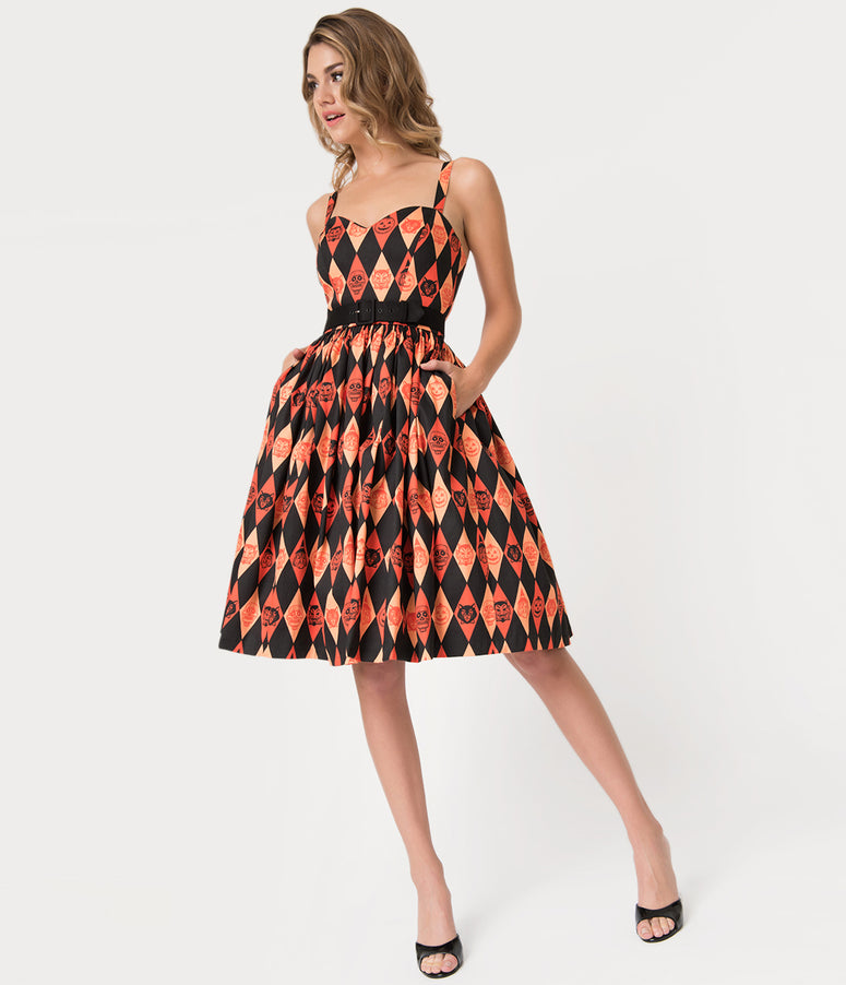 Vixen by Micheline Pitt Orange Ben Cooper Trick R Treat Print Swing Dress