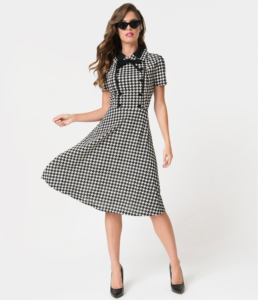 1940s Style Black & White Houndstooth Button Swing Dress