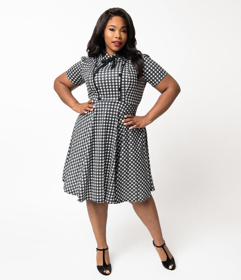 Plus Size 1940s Style Black & White Houndstooth Button Swing Dress