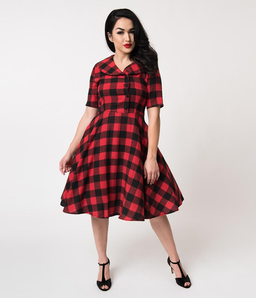 c5b1533d514 1950s Style Red   Black Buffalo Plaid Swing Dress   Fur Collar ...