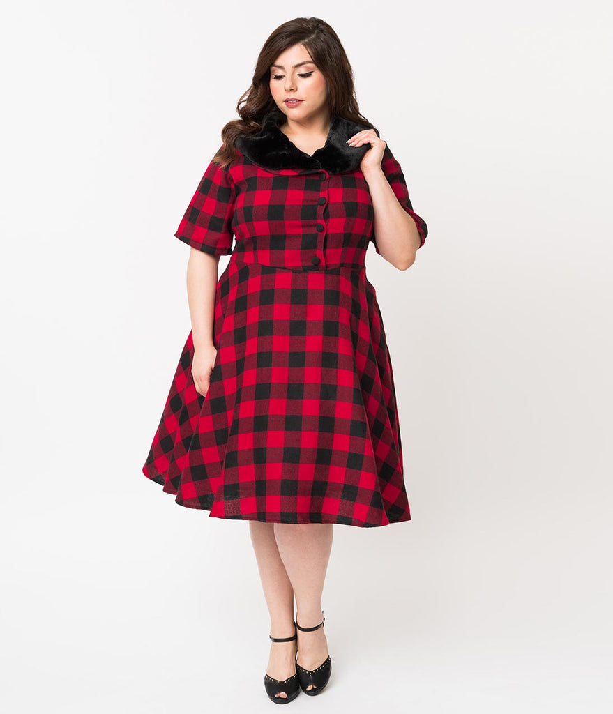 Plus Size 1950s Style Red & Black Buffalo Plaid Swing Dress & Fur Collar