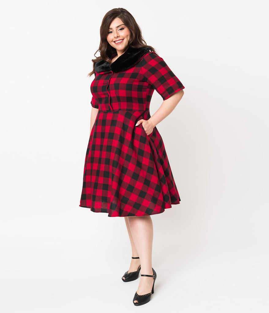 a489a537b0f ... Plus Size 1950s Style Red   Black Buffalo Plaid Swing Dress   Fur ...