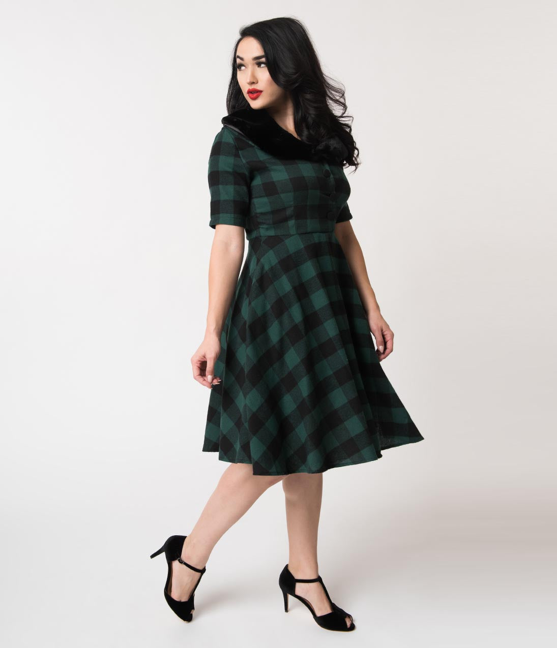 1950s Swing Dresses | 50s Swing Dress 1950S Style Green  Black Buffalo Plaid Swing Dress  Fur Collar $78.00 AT vintagedancer.com