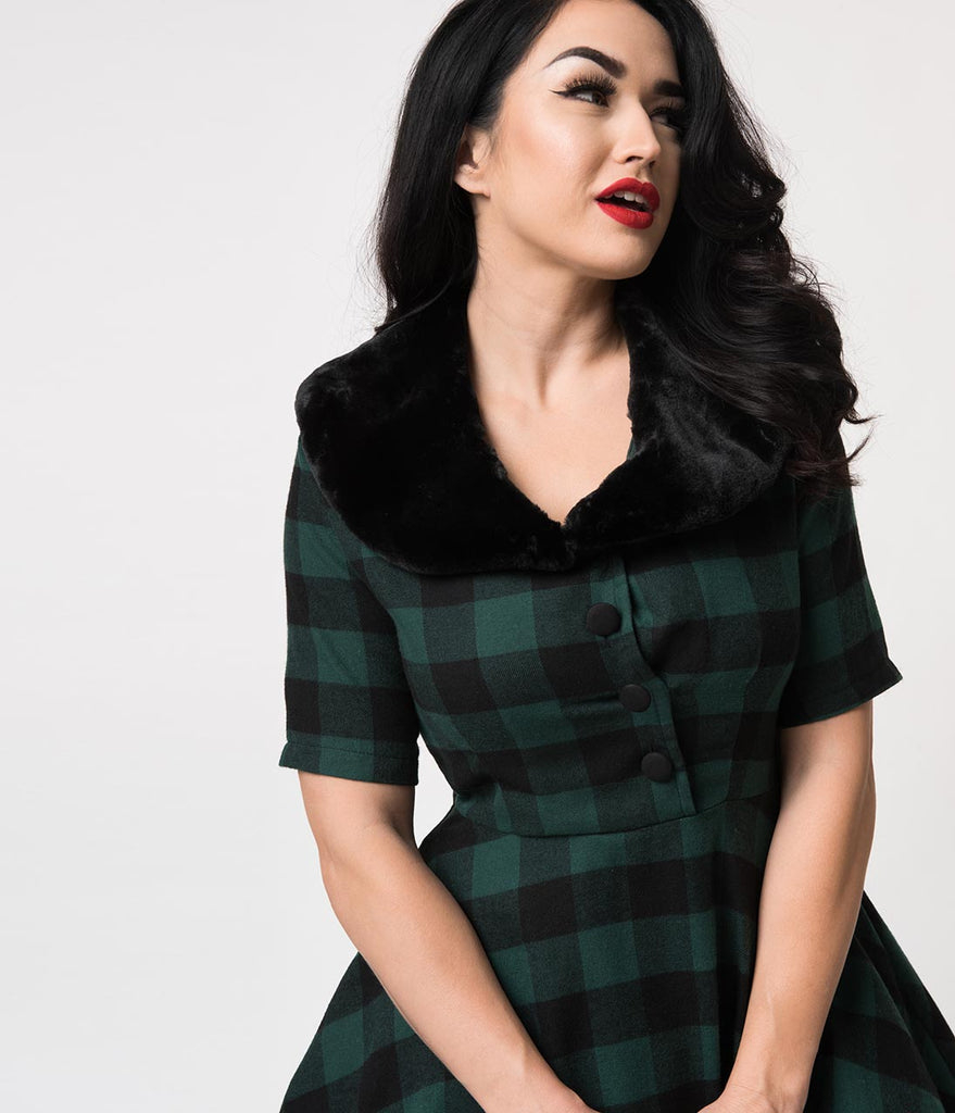 1950s Style Green & Black Buffalo Plaid Swing Dress & Fur Collar