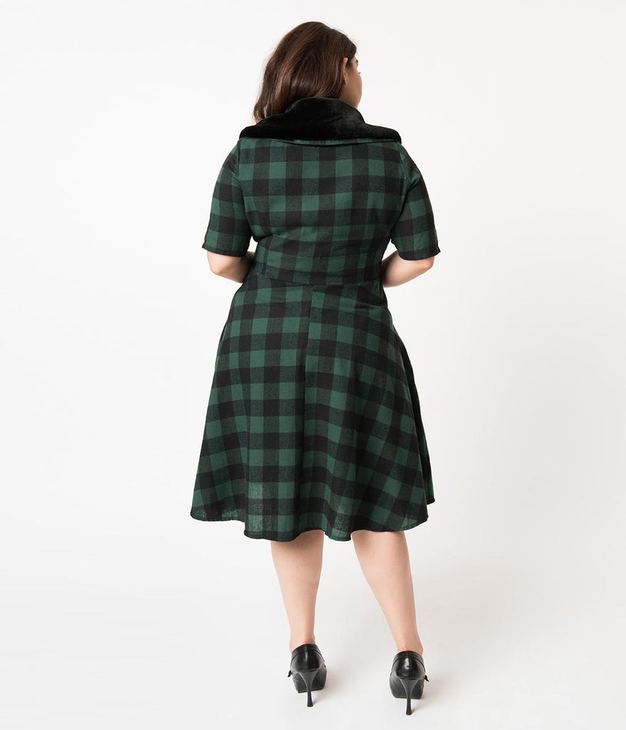 Plus Size 1950s Style Green & Black Buffalo Plaid Swing Dress & Fur Collar
