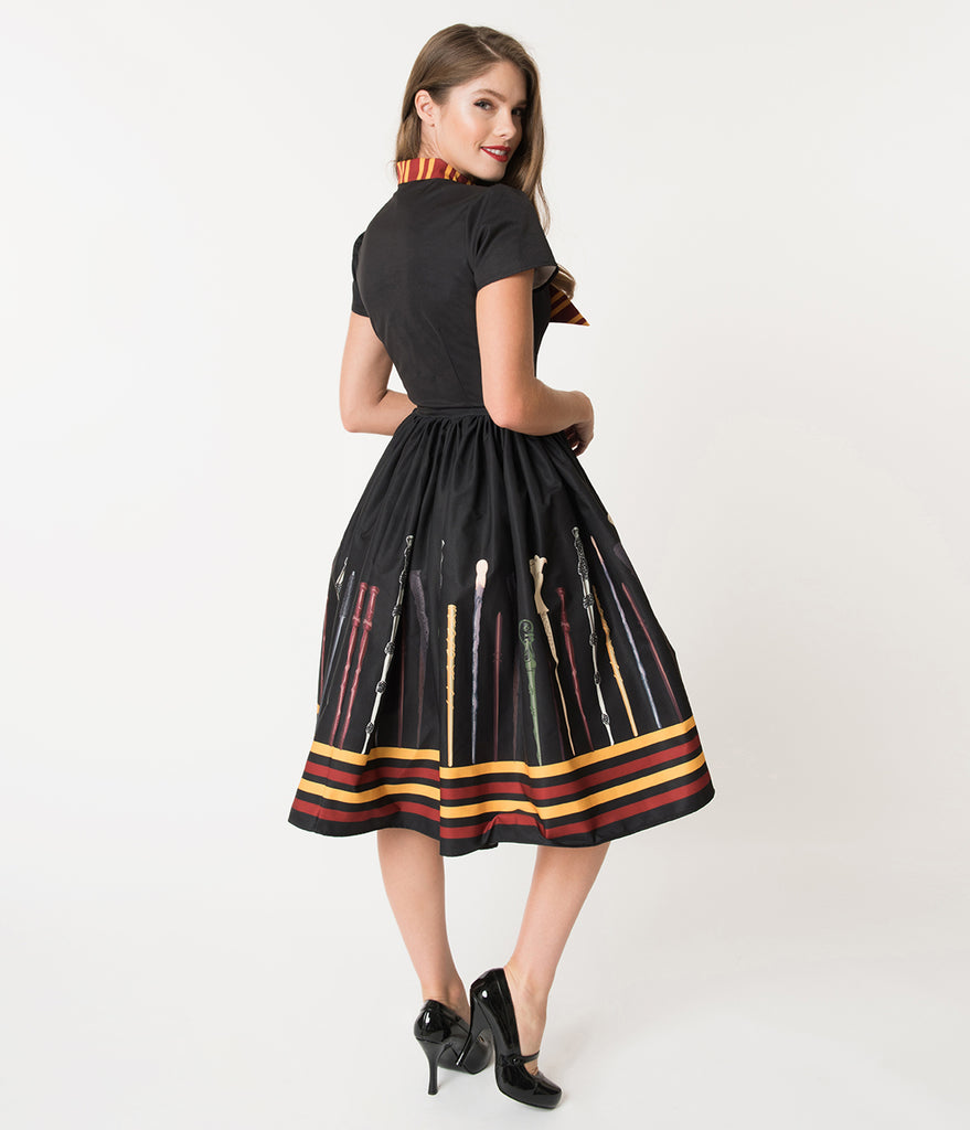 Unique Vintage 1950s Style Black Magic Wand Minerva Swing Dress