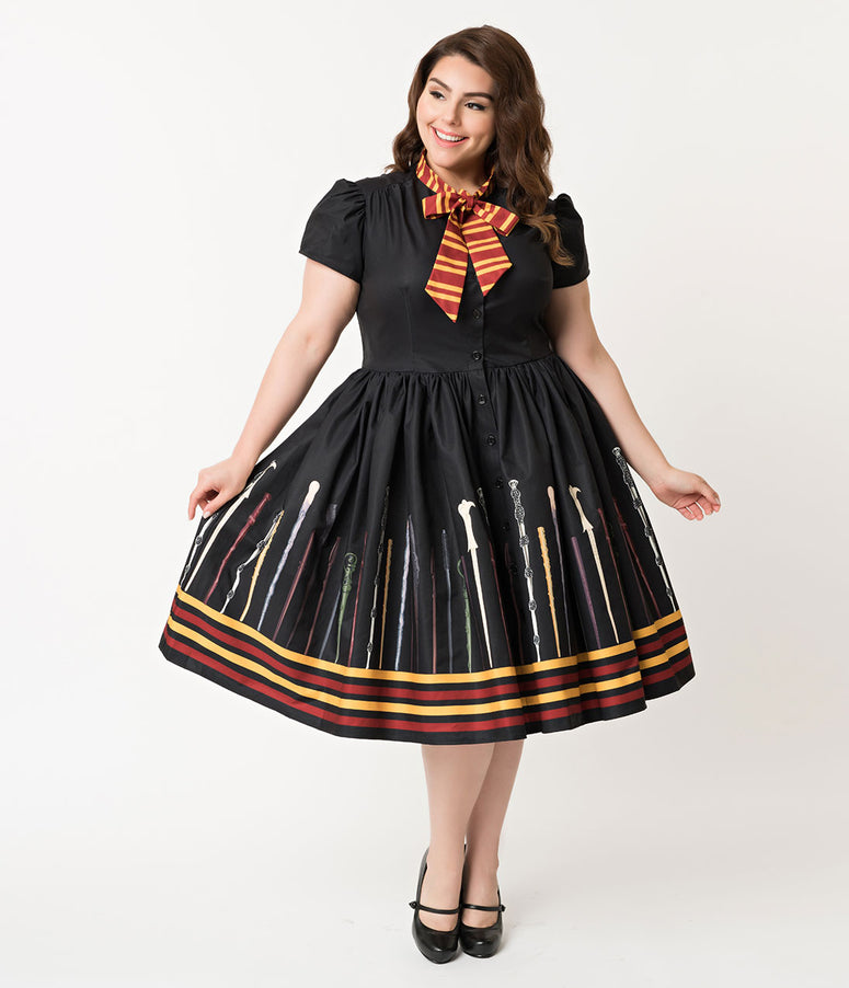 96923b9509bb4 Unique Vintage Plus Size 1950s Style Black Magic Wand Minerva Swing Dress