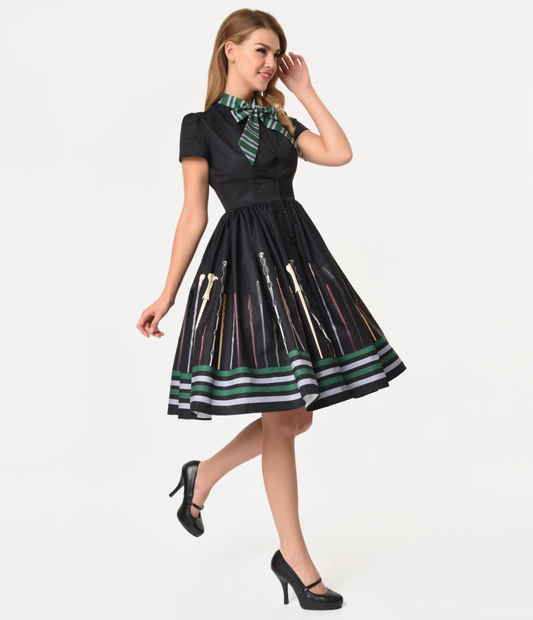 a9cf5cd94f92 Unique Vintage 1950s Style Black Magic Wand Print Narcissa Swing Dress