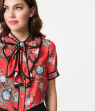 1940s Style Red & Multicolor Floral Ruffle Short Sleeve Button Up Blouse